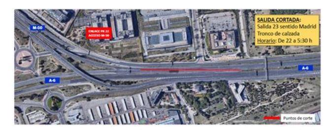 Afecciones al tráfico en la A-6 sentido Madrid debido a los trabajos de rehabilitación del firme