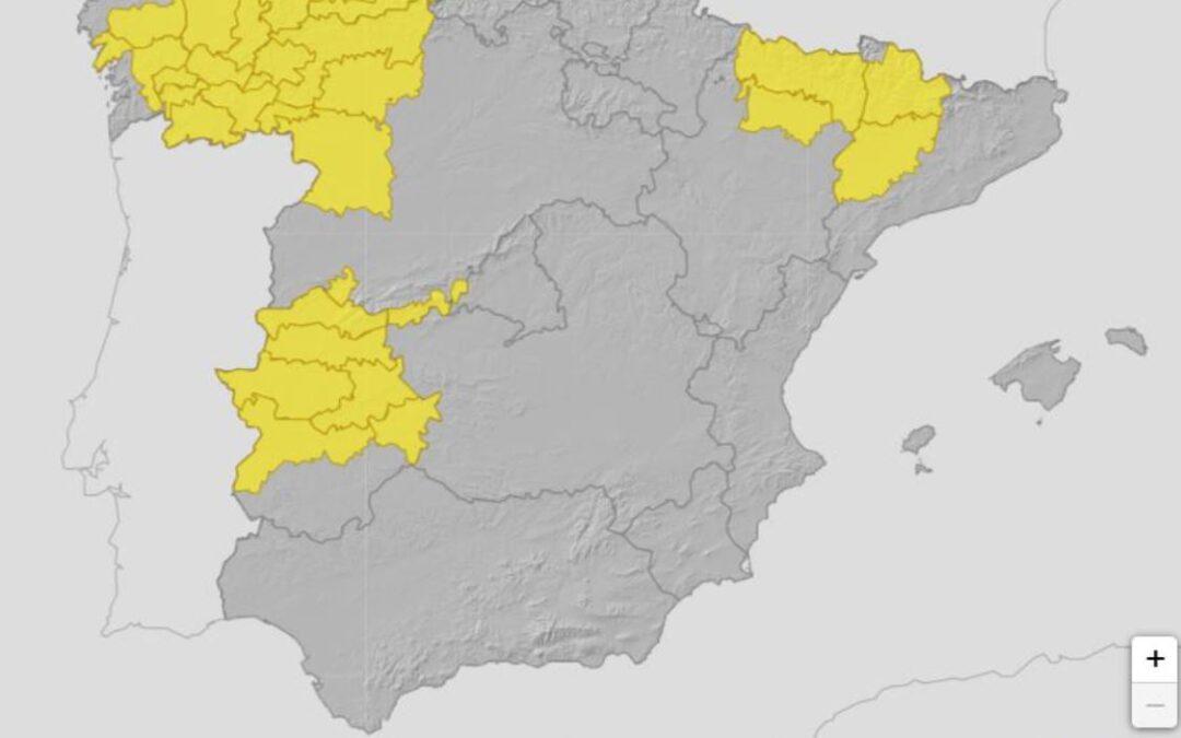 La AEMET alerta de las lluvias intensas que tendrán lugar en buena parte de la Península hasta el próximo miércoles