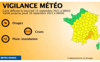 Alerta naranja en cuatro departamentos franceses por lluvias, tormentas e inundaciones
