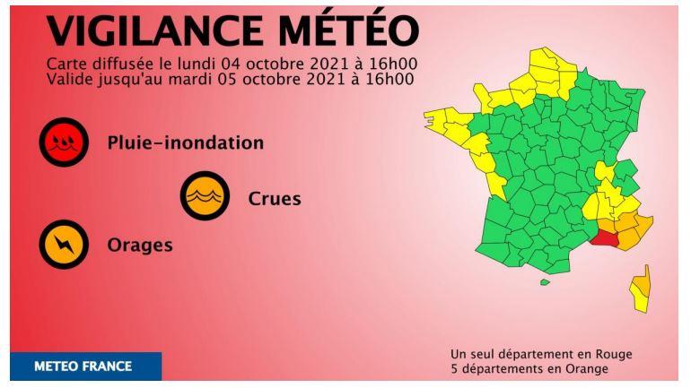 Aviso por tormentas e inundaciones en el sur de Francia